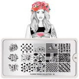 Daily Charme Moyou London Nail Art Stamping Plate Flower Power 26 - Blossom Textiles Palette Large