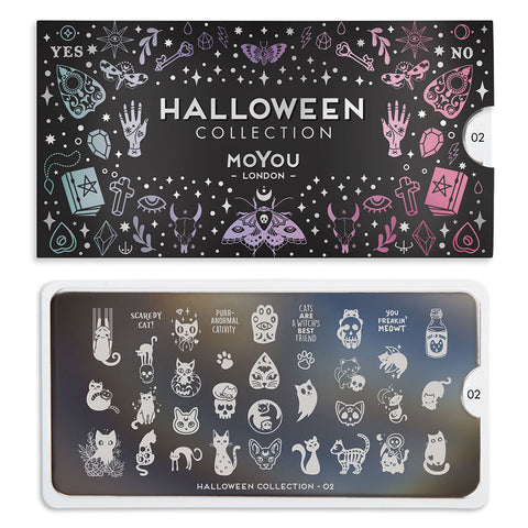 Daily Charme Nail Art Stamping Plate Moyou London Halloween 02 - Scaredy Cats