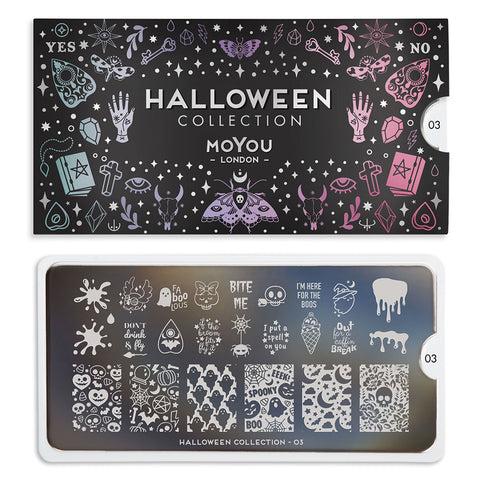 Daily Charme Nail Art Stamping Plate Moyou London Halloween 03 - Boo