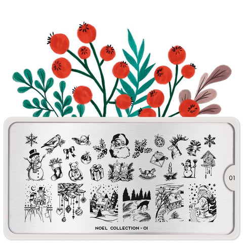 MoYou London Stamping Plate Nail Art Noel 01 - Classic Christmas