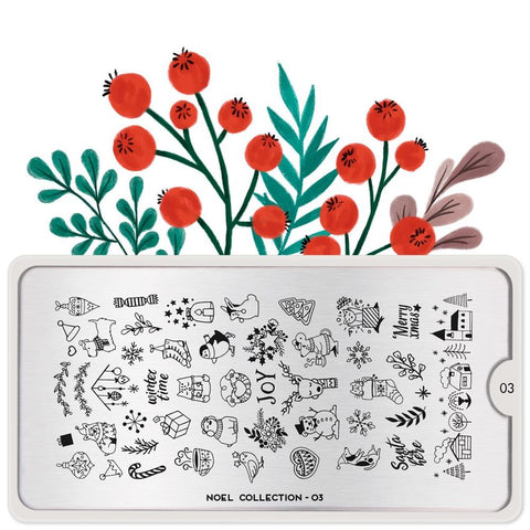 MoYou London Stamping Plate Nail Art Noel 03 - Festive Creatures