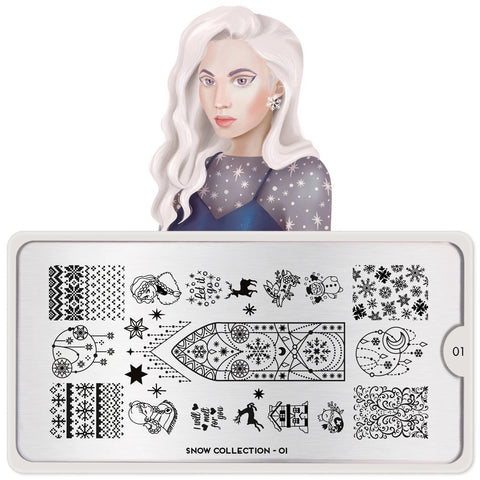 MoYou London Stamping Plate Nail Art Snow 01