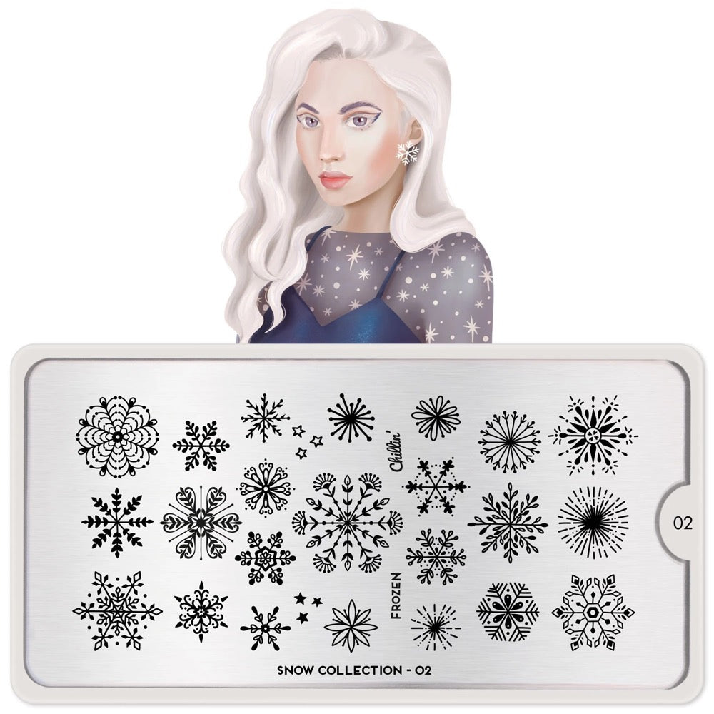 Snow 02 - Frozen Snowflakes MoYou London Nail Stamping Plate