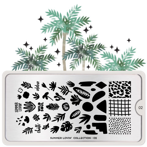 Daily Charme Nail Art Stamping Plate Moyou London Summer Lovin' 02 - Leaf Cutouts