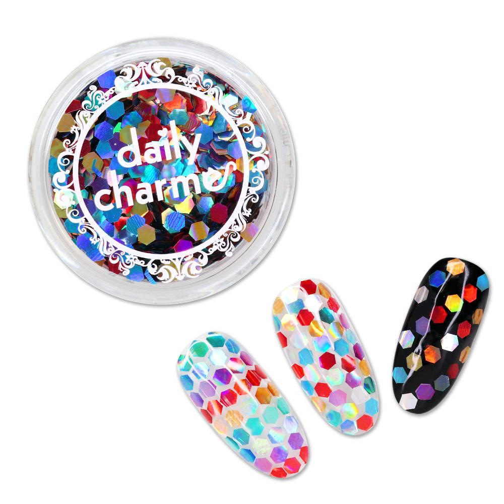 Colorful Rainbow Holographic Hex Nail Art Glitter Mix Glitter Placement