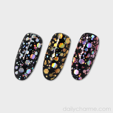 Gold Holographic Mixed Hex Glitters for Nail Art 20G