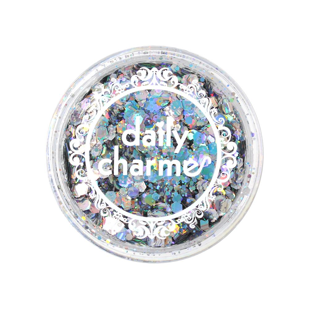 Silver Holographic Mixed Hex Glitters for Nail Art 20G