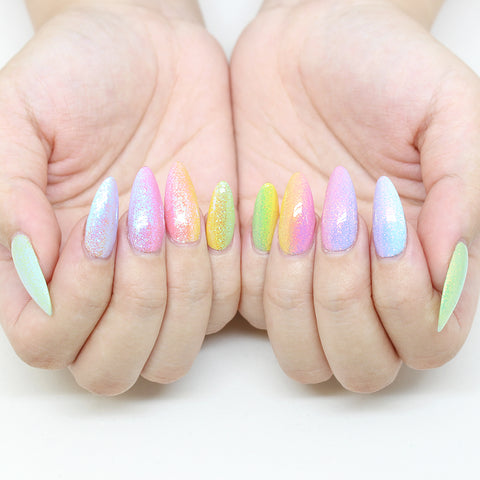 Aurora Fairy Dust Magic Glitter Pastel Rainbow Nail Art Supplies