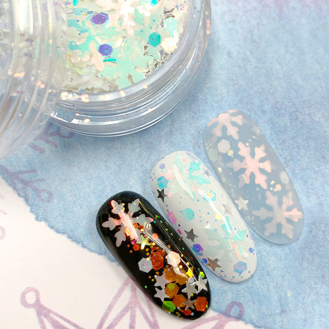 Winter Wonderland Glitter Mix / Let It Snow Holiday Christmas Snowflake Nail Art Iridescent
