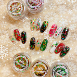 Festive Holiday Glitter Mix / Holly Jolly Iridescent Holo Red Green Gold Dots Nail Art