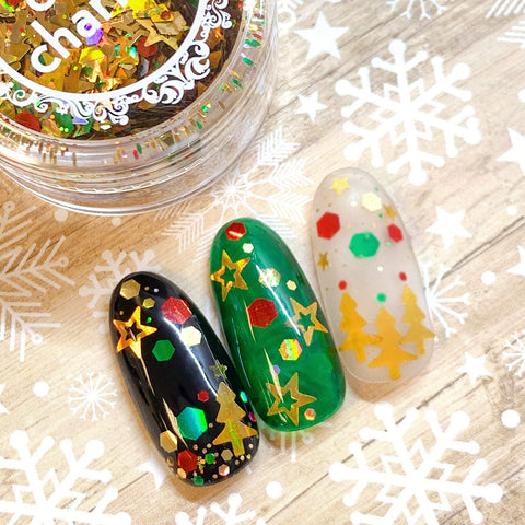 Festive Holiday Glitter Mix / Christmas Tree Star Gold Nail Art Design