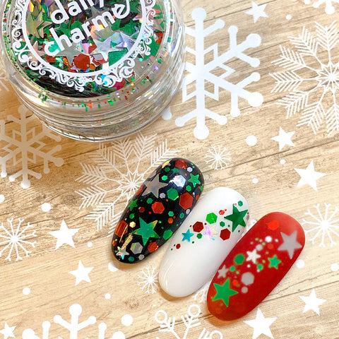 Festive Holiday Glitter Mix / Jingle Bell Rock Holographic Star Nail Design