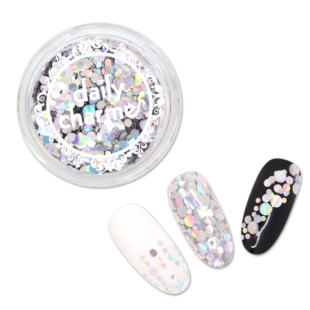 Holographic Glitter Dot Mix / Silver for Nail Art Confetti