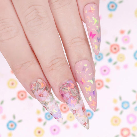 Iridescent Rainbow Butterfly Glitter Mix / Floral Blossoms Pink Blue Spring Nail