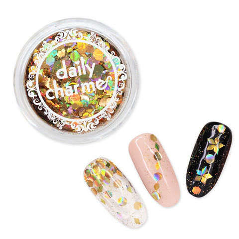 Gold Holographic Shape Hex Diamond Round Glitter Nail Art