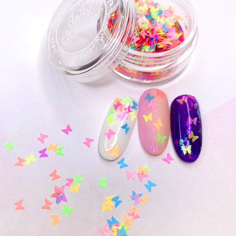 Colorful Rainbow Summer Butterfly Glitter Mix Nail Art Spring