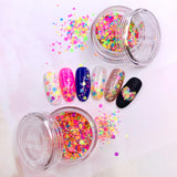 Colorful Rainbow Glitter Dot Mix Nail Art Round