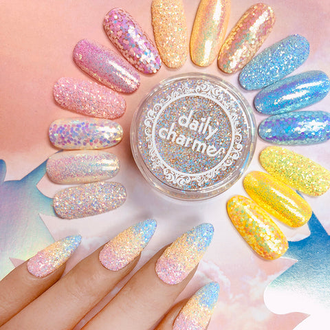 Pastel Iridescent Glitter / Strawberry Shortcake Pink Nail Art Glitter