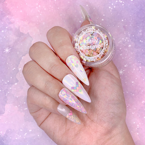 Colorful Pastel Iridescent Heart Glitter Mix for Nail Art Rainbow