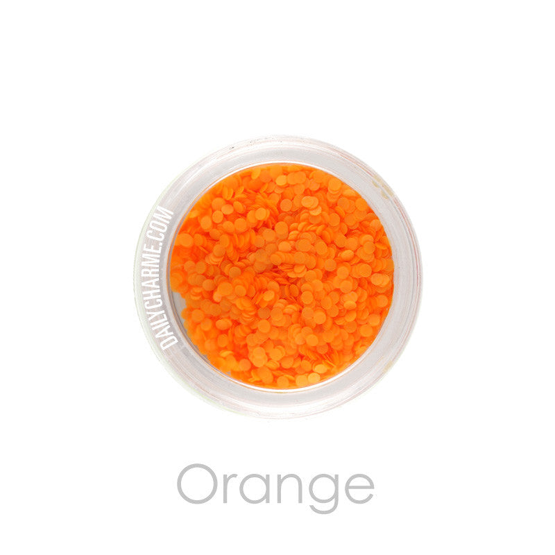 Nail Art Decor - Neon Glitter Round Dots - Orange