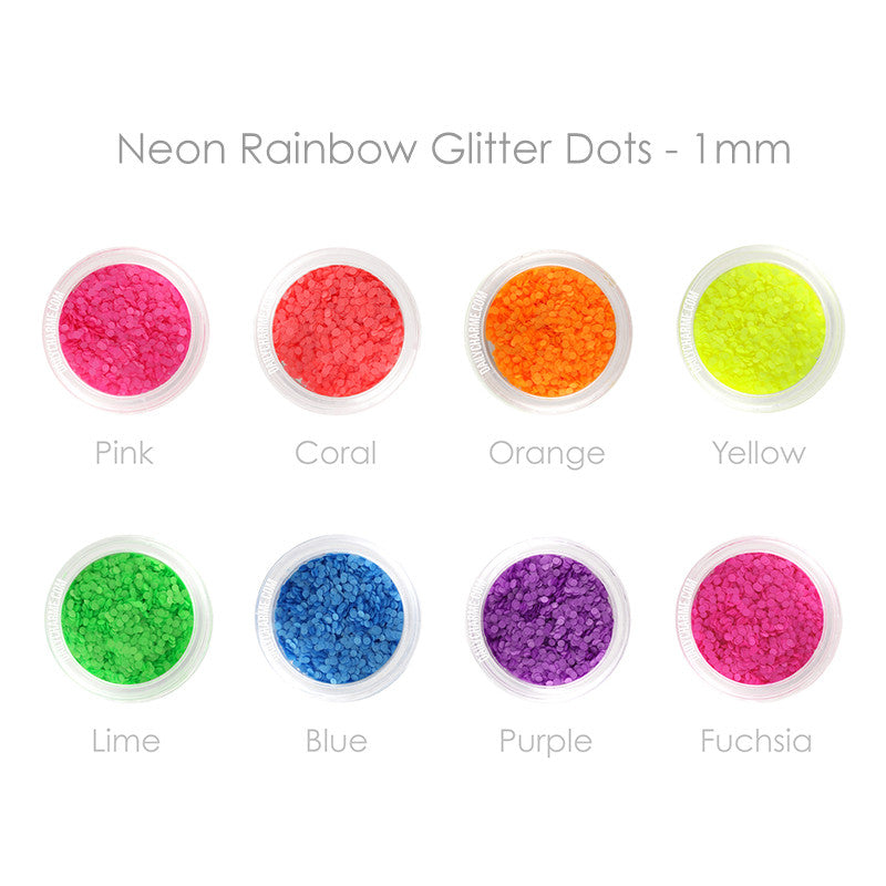 Nail Art Decor - Neon Rainbow Glitter Round Dots