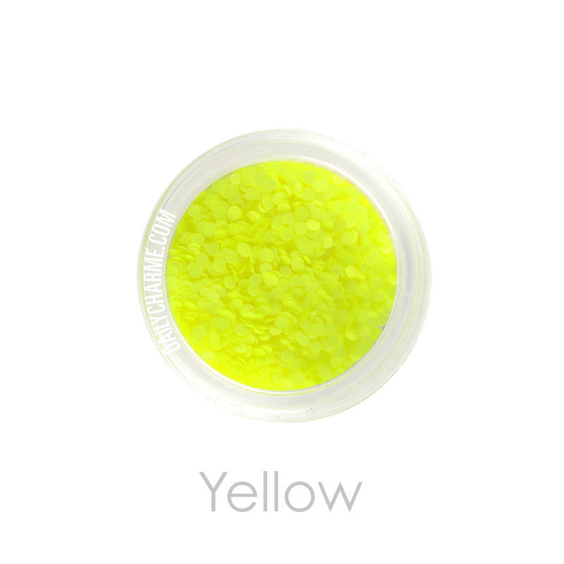 Nail Art Decor - Neon Glitter Round Dots - Yellow