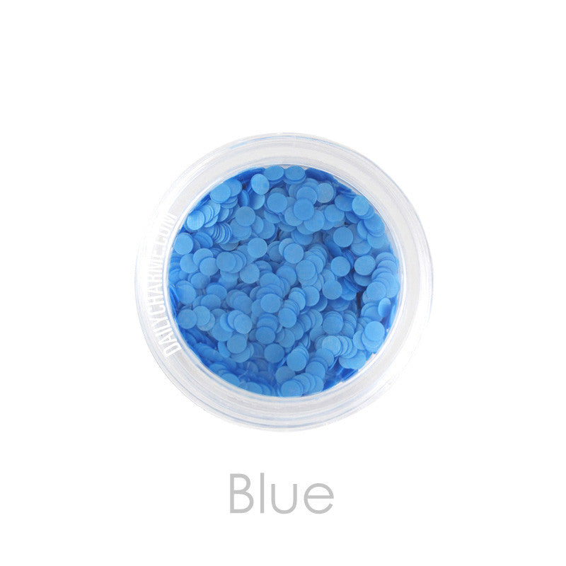 Nail Art Decor - Neon Glitter Round Dots - Blue