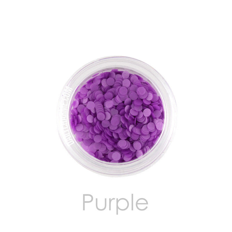 Nail Art Decor - Neon Glitter Round Dots - Purple