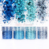 Nail Art Decor Cinderella Metallic Glitter Mix Set / 4 Jars