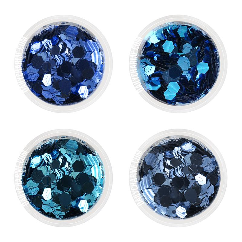Nail Art Decor - Cinderella Metallic Glitter Mix Set / 4 Jars Blue Glitters