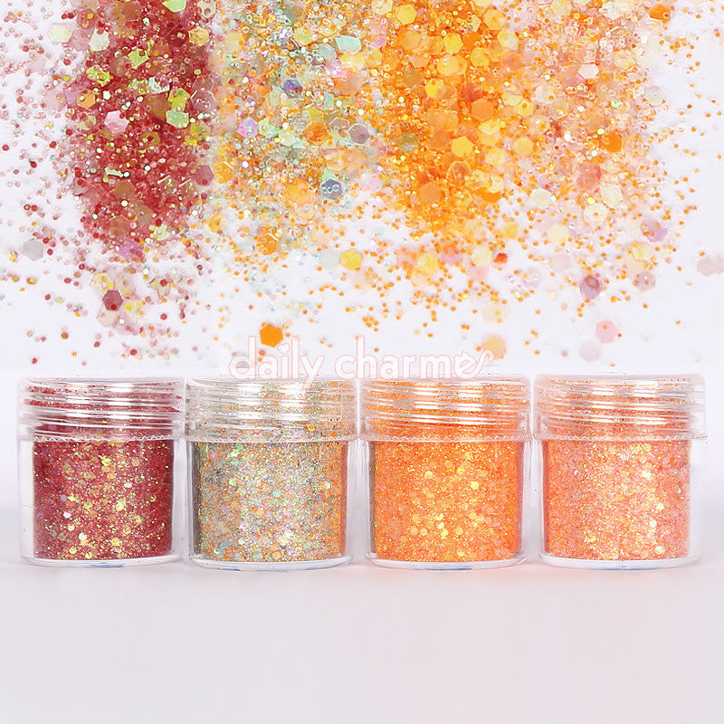 Daisy Iridescent Glitter Mix Set / 4 Jars Daily Charme Nail Art Decorations