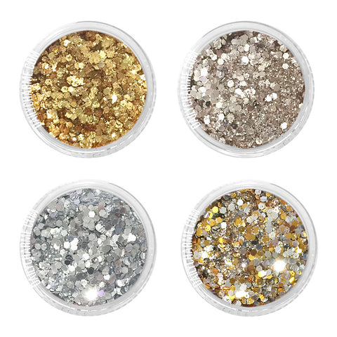 Gatsby Metallic Glitter Mix Set / 4 Jars Daily Charme Nail Art Decorations