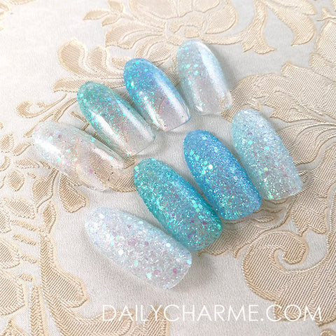 Ice Queen Iridescent Glitter Mix Set / 4 Jars Transparent Blue Icy Green Art Glitters