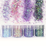 Mermaid Nail Art Iridescent Glitter Mix Set / 4 Jars