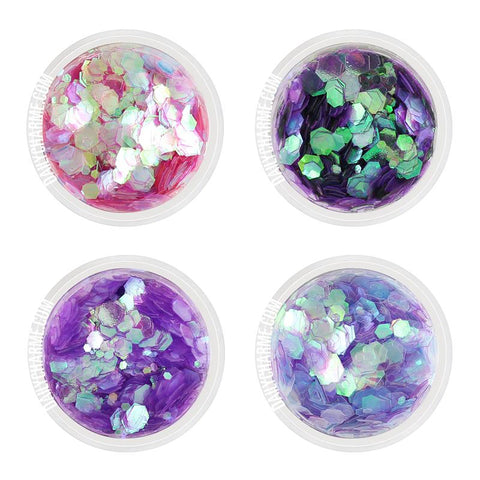 Mermaid Nail Art Iridescent Glitter Mix Set / Chunky Size 4 Jars