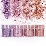 Nail Art Rapunzel Metallic Glitter Mix Set Purple Pink Rose Gold