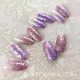 Nail Art Rapunzel Metallic Glitter Mix Pink Rose Gold Nails