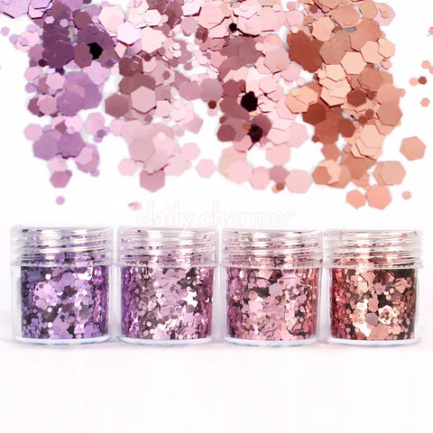 Nail Art Decor - Rapunzel Metallic Glitter Mix Set Purple Pink Rose Gold