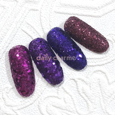 Ursula Metallic Glitter Mix Set / Fine Dark Glitter Halloween Nails Fuchsia Purple Violet