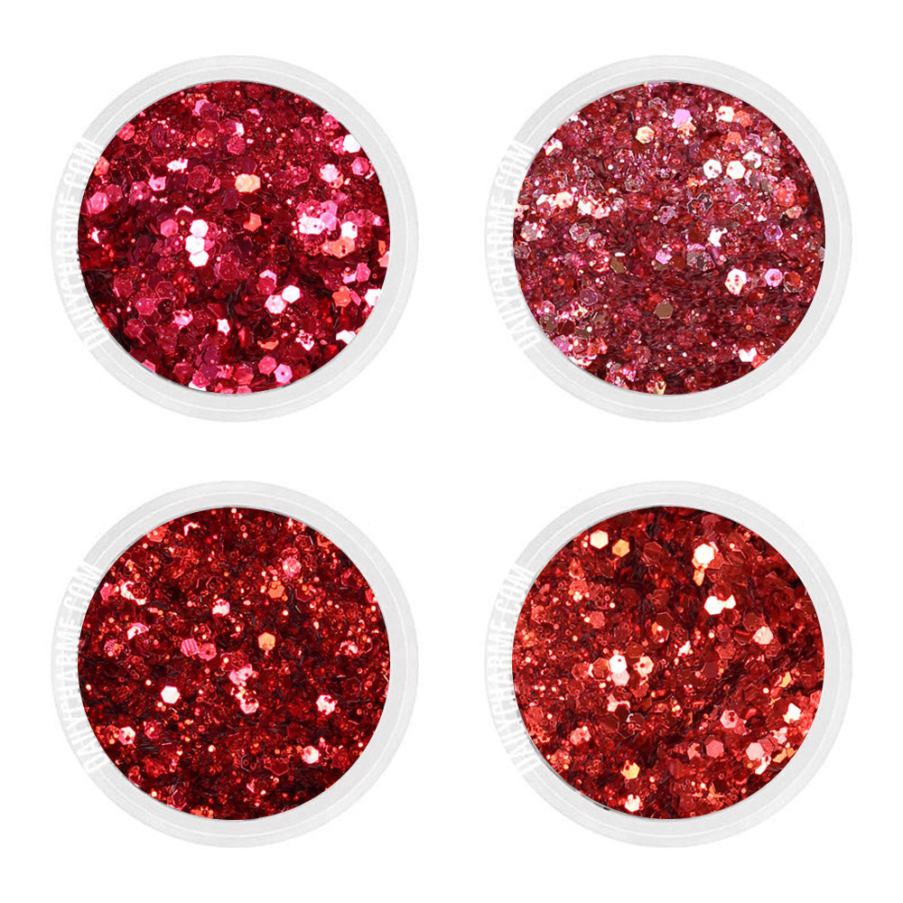 Anastasia Metallic Glitter Mix Set / Fine Red Pink Christmas Valentines Day Nails