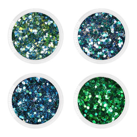 Wicked Metallic Glitter Mix Set / Fine Green Turquoise Blue Nail Art