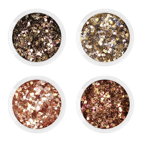 City Lights Metallic Glitter Mix Set / Fine Rose Gold Copper Gold Black