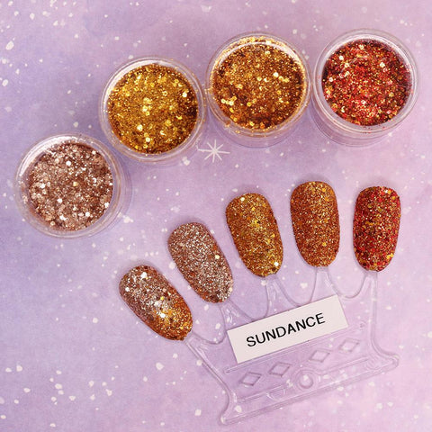 Sundance Metallic Glitter Mix Set / Fine Gold Copper Amber Nail Art
