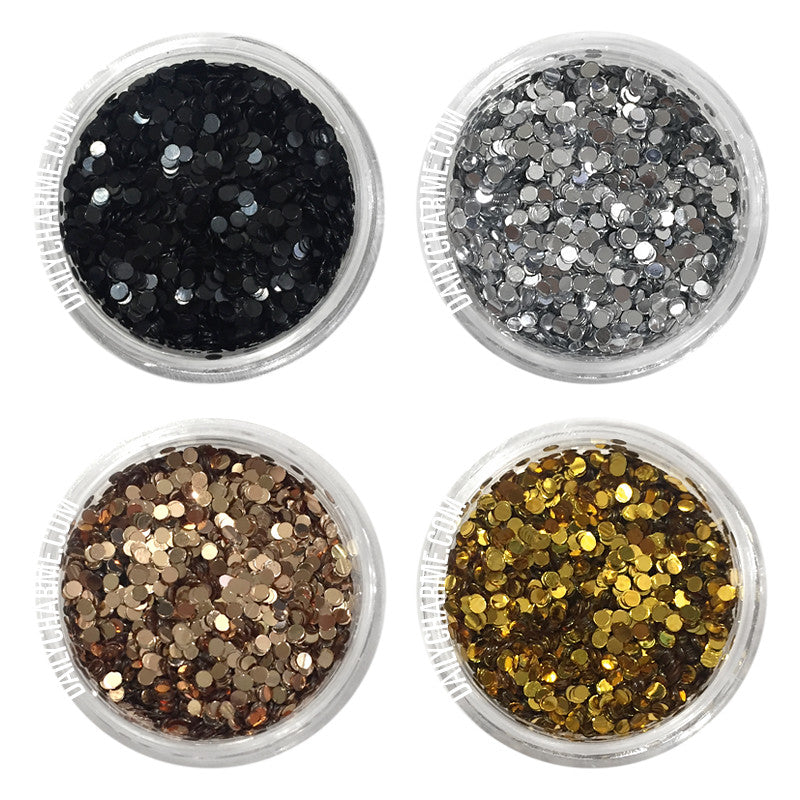 Glamour Glitter Dots Set / 4 Jars Nail Art Supply 1MM