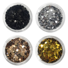 Glamour Glitter Dots Set / 4 Jars Nail Art Supply 2MM