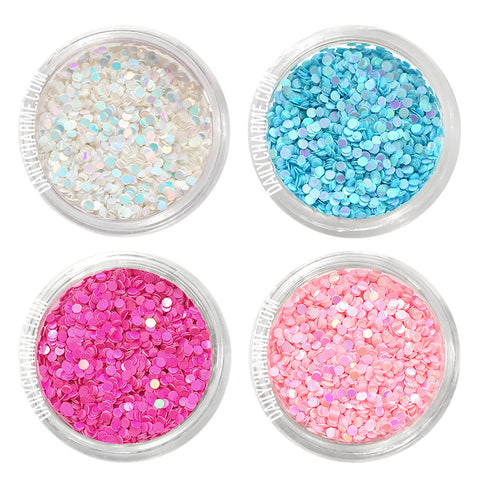 Nail Art Iridescent AB Glitter Dots Set / 4 Jars 1MM Hot Pink Blue White