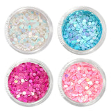 Nail Art Iridescent AB Glitter Dots Set / 4 Jars 2MM Hot Pink Blue White