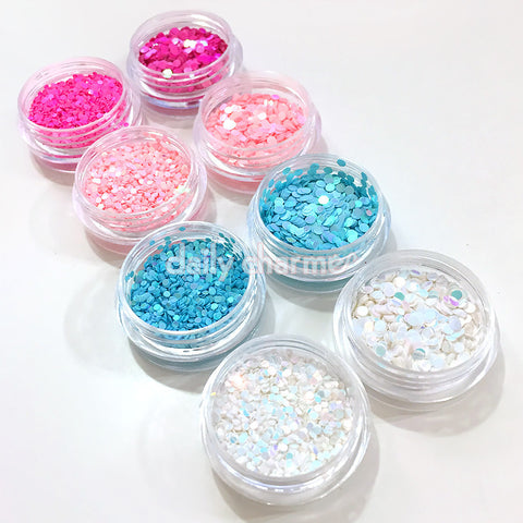 Nail Art Iridescent AB Glitter Dots Set / 4 Jars Hot Pink Blue White