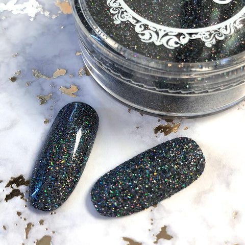Holographic Glitter Dust / Deathly Holo Black Rainbow Nails