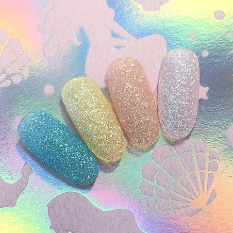 Iridescent Glitter Dust / Frosted Lemonade Pastel Yellow Nail Art